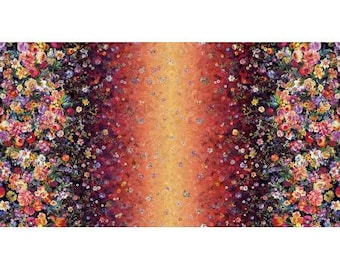 RJR Arcadia Fabric - Arcadia - Floret Cascade Double Border - Digiprint Fabric -RJ800-SU1D Sunset - Priced by the 1/2 yard