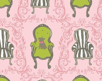 Queen Anne Fabric - Cushions & Dust Queen Anne Chairs - Sarah Watts - Blend Fabrics 110 102 02 1 Pink - Priced by the 1/2 yard