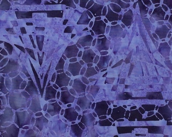 Circle Prism Batik Fabric - Artisan Indonesian from Majestic Batiks - CB 446 - Purple, Priced by the 1/2 yard