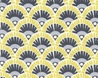 Citron Fan Fabric - From Citron Gray Collection  by Michael Miller CX 6262 Lemon-Lime Gray -  Priced by the 1/2 yard