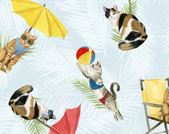 Cat Fabric - Cat Beach Fabric - Summertime Cats - Coastal Kitty by P&B Textiles World Art Group 3066  - Priced by the 1/2 yard