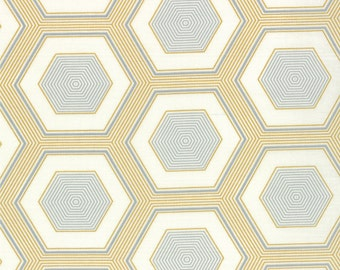 Simply Style Yellow Hexagon Fabric by V & Co for Moda Fabrics 10810 16 Grey Mustard - Priced by the 1/2 yard