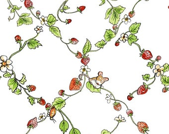 Garden Party Lattice Work Fabric -  Animal Garden Party by Anita Jeram for Clothworks  -  2726 1 White - priced by the half yard