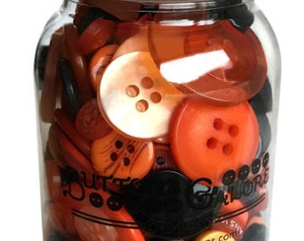 Button Mason Jar - Button Assortment - Buttons Galore - Halloween (Orange Black) MJ115 - 200 buttons with Jar
