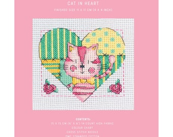 Mini Cross Stitch Kit - Cat in Heart - TUVA Publishing MCS09 - Sold by the Each