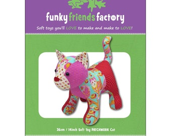 Cat Stuffed Toy Pattern - Funky Friends Factory designed by Pauline - Patch the Pussycat 4705 - DIY Pattern
