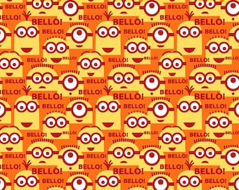 Minion Fabric - Bello from Quilting Treasures - 23994 Orange - Priced by the Half Yard