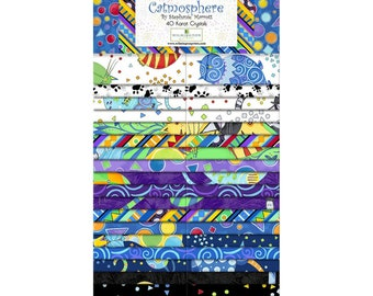 Cat Fabric - Catmosphere by Stephanie Marrot for Wilmington Fabrics - 591 840 - Strip Set 40-Carat (Jelly Roll)