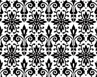Cotton Damask Fabric - White and Black Damask Print from Black Tie Boogie by Sandy Clough for Red Rooster 24272  - Priced by the 1/2 yard