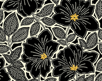 Maya - Floral by Studio 8 for Quilting Treasures 24017 JS - Black Topaz - Priced by the 1/2 yard