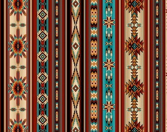 Southwest Stripe Fabric - Aztec Border -  Desert Dream Timeless Treasures  - C7354 - priced by the half yard