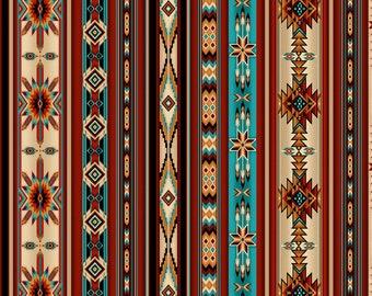 Southwest Stripe Fabric - Aztec Border -  Desert Dream Timeless Treasures  - C7354 - end of bolt 35-inch