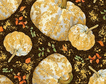 Pumpkin Fabric, Fall Foliage, Autumn Shimmer by Lynnea Washburn for Quilting Treasures - 26539 A Espresso Priced by the 1/2 yard