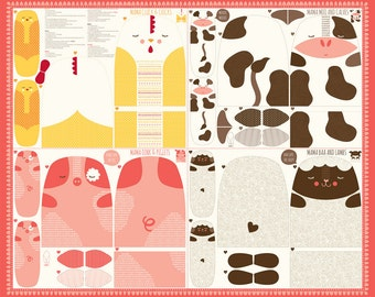 Farm Animal Panel Fabric - Mama and Baby Animals - Moda Fabric - Farm Fun 20530 11 - Sold by the Panel - DIY stuffed animals