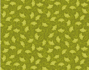 Ginkgo Leaf Fabric - Bella Flora Ginkgo Tonal Green by Studio e Fabrics E60 1555 66 - Priced by the 1/2 yard