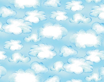 Cloud Fabric, Sky Fabric - Ready for Takeoff, Renae Lindgren, Wilmington Fabrics - 65189 411 Blue - Priced by the half yard