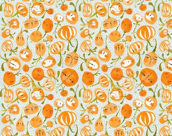Blend Fabrics - Fall Goodness by Cori Dantini - 112.119.03.2 Pumpkin Party Blue - Priced by the 1/2 yard