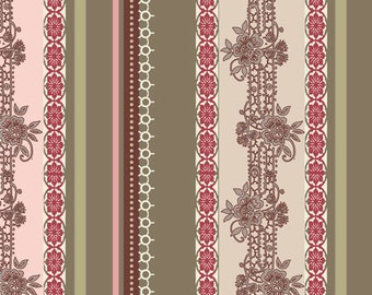 Closeout - Dashing Roses Lace Ribbons Fabric  by Pat Bravo for Art Gallery Fabrics DR 303 Olive - Sold by the yard