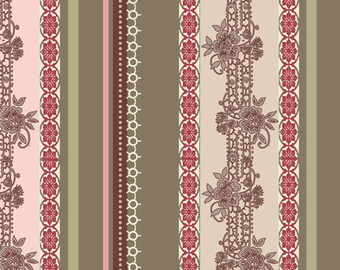 Closeout - Dashing Roses Lace Ribbons Fabric  by Pat Bravo for Art Gallery Fabrics DR 303 Olive - Skinny bolt 1.5 yard