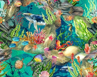 Ocean Life - Calypso - Coral - Sea Creatures - In The Beginning Jason Yenter - 1CAL 2 Teal - Priced by the 1/2 yard