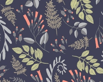 Floral Fabric, Fern Bouquet Fabric - Foxtail Forest by Rae Ritchie for Dear Stella 521 Navy - Priced by the 1/2 yard