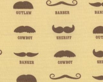 Mustache Fabric - Honky Tonk By Eric and Julie Comstock for Moda 37081 11 Natural - Priced by the 1/2 yard
