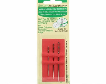Double Eye Needles - 3 size (15, 17, 20) - qty 3 in pack #241 - Clover - Sharp Tip
