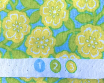 Yellow Floral Fabric - Sunny Daze Flower Vines by Alice Kennedy for Timeless Treasures C7327 TURQ - Priced by the 1/2 yard