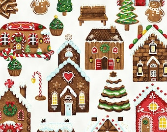 Gingerbread House Fabric - Candy Cane Lane -  Hoffman Fabric 7660-307G White & Gold - Priced by the Half Yard