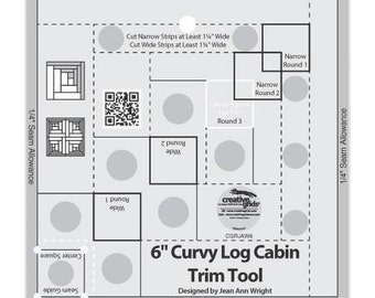 Curvy Log Cabin 6-InchTrim Ruler - Creative Grids by Jean Ann Wright CGRJAW6 - Acrylic
