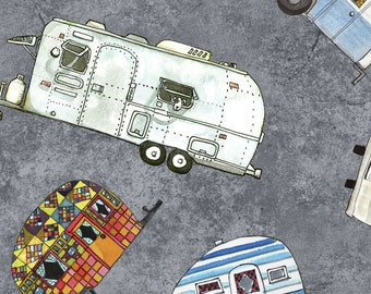 Quilters Road Trip - Trailers Campers - Camp site -  Kathy Deggendorfer for Maywood Studio - MAS 9192 K Gray - Priced by the half yard
