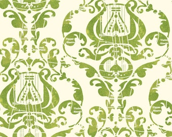 Christmas Harp Fabric - Angel Band Harp Damask by Janet Wecker Frisch - Quilting Treasures 23525 Light Green -  Priced by the half yard