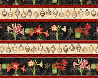 Christmas Fabric - Christmas in Bloom  Border Stripe by Nancy Mink for Wilmington Prints 33795 913 - Priced by the Half Yard