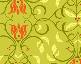 Floral Scroll Stripe Fabric - Sorbet Garden Green by Jill Finley of Jillily Studio for Henry Glass & Co. 5718 66 - Priced by the 1/2 yard