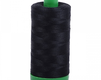 Aurifil  Thread - Black 2692 - 1094 yards, 1000 Meter 40wt or 50wt 1300m - Cotton