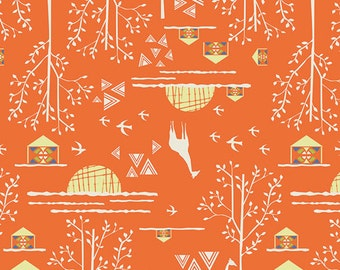 Animal Fabric, Giraffe - Overland Journey from Safari Moon by Frances Newcombe for Art Gallery SFR 6707 Orange - Priced by the 1/2 yard