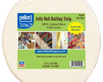 Pellon Jelly Roll Batting Strip - sold by the roll 2.5 inch x 25 yards - 100% Natural Cotton with Scrim