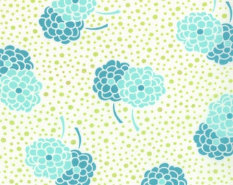 Simply Style Floral Fabric - Light Blue Pom Pom Flower by V & Co for Moda Fabrics 10812 17 Aquatic Blue Green - 1/2 yard