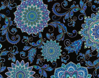 Black medallion with metallic - Chong-a Hwang Timeless Treasures - Regency Collection - CM7310 Black - Priced by the 1/2 yard