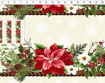 Winter Twist - Poinsettia Border- Christmas Fabric - In The Beginning - 2WT 1 Red Border Stripe - Priced by the 1/2 yard