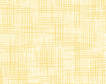 Harmony Blender Fabric - Basket Weave Fabric, Woven Texture Print by Quilting Treasures 24776 S - Butter Yellow  - Priced by the 1/2 yard