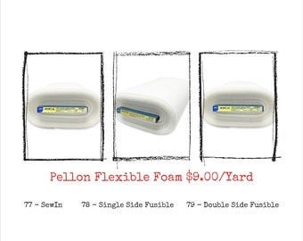 Pellon FF77, FF78, FF79 - Flex Foam Craft & Home Decor Stabilizer - One Yard, 20-Inch Wide - Sew-In or Fusible Option