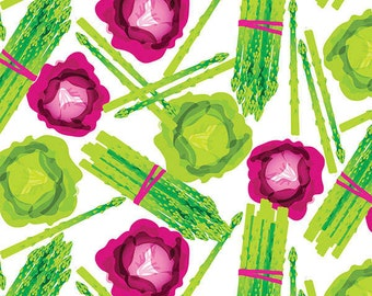 Asparagus / Lettuce Fabric - Toss & Serve from Maria Kalinowski for Benartex 6417B 09 white - Priced by the 1/2 yard