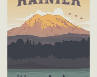 Mt Rainier National Parks Fabric Poster - Anderson Design Group for Riley Blake C8793 - 36-Inch Panel