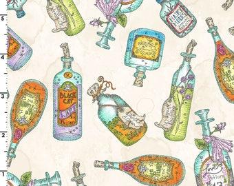Potion Bottles, Salem Quilt Show, Halloween - Meg Hawkey Crabapple HIll - Maywood Studios - 8351 Natural Cream, Priced by the half yard