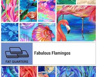 Flamingo Fabric - Fabulous Flamingos by Ro Gregg Paintbrush Studio Fabric - Fat quarter bundle (12 pieces)
