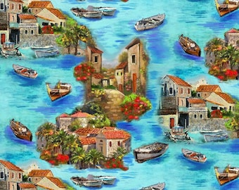 Croatia - Village and Boat Harbor - Ro Gregg - Paintbrush Studio - 120 99631 Blue - Priced by the 1/2 yard