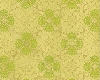 Filigree Fabric - Urban Cosmos by Prima for Windham Fabrics 33330 5 Gold & Green - Priced by the 1/2 yard