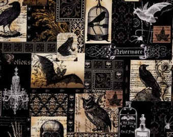 Raven Fabric - Edgar Allen Poe - Nevermore Collage Fabric - Gillian Fullard  for Michael Miller - DC5522 Black - Priced by the half yard