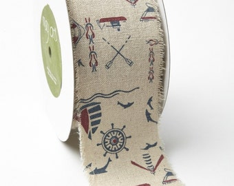 Nautical Ribbon - 2.5 Inch Cotton Linen Blend  - 468 25 03